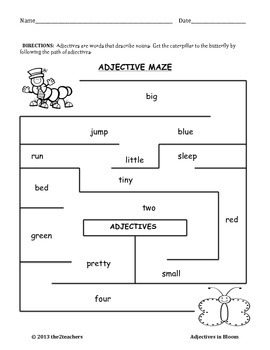 Adjectives - Adjectives in Bloom - Grammar Review - Spring Theme
