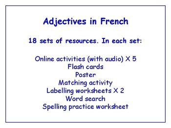 Adjectives in French Bundle - Worksheets, Games, Activities & More (with audio)