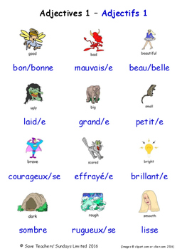 Adjectives in French Word searches / Wordsearches