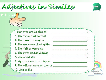 Interactive Adjectives in Similes Activity for IWB