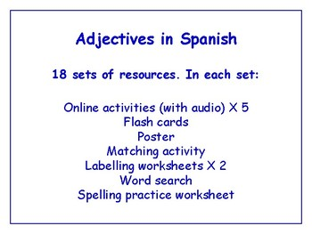 Adjectives in Spanish Bundle - Worksheets, Activities & More (with audio)