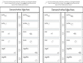 Adjectives in Spanish Flip-Flaps for Interactive Notebooks