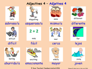 Adjectives in Spanish Posters / Slides