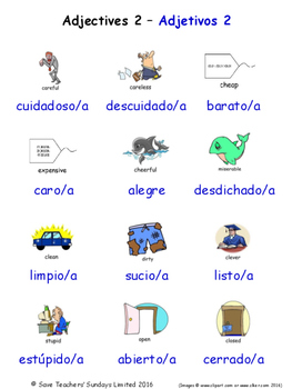 Adjectives in Spanish Word searches / Wordsearches