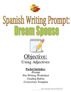 Adjectives in Spanish Writing Prompt: Dream Spouse