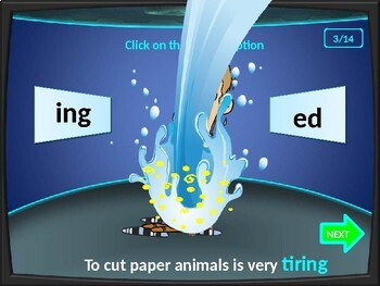 Adjectives ing or ed.  Game.