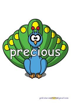 Adjectives on Peacocks for Display