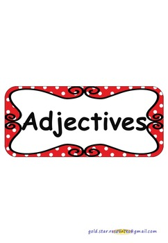 Adjectives on Red Polka Dots for Display