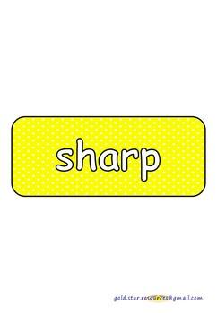 Adjectives on Yellow Polka Dots for Display