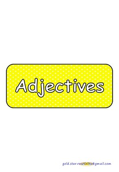 Adjectives on Yellow Polka Dots for Display