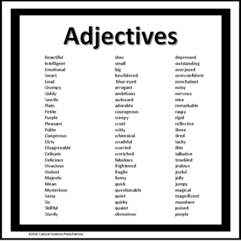 Adjectives on a T-Shirt