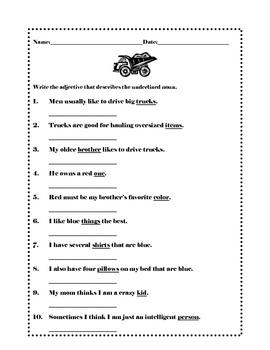 Adjectives, set of three