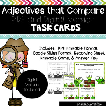 Adjectives that Compare Task Cards and Game (Digital Version Included)