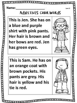 Adjectives the Kindergarten Way! -  Color Words