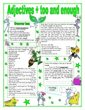 Adjectives + too / enough easy grammar reference +activities