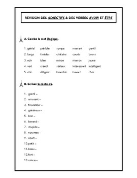 """Adjectives, verbs """"avoir"""" & """"être"""" worksheet in French"""