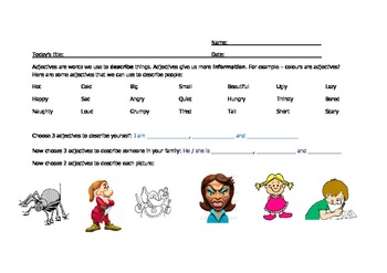 Adjectives vocabulary practice for ESL children.