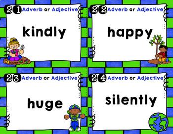 Adjectives vs. Adverbs- Earth Day-   Scoot Common Core 2.L1.E