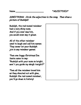 Adjectives- Rudolph the Red Nosed Reindeer