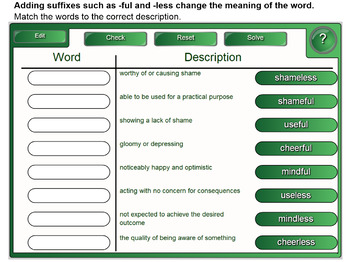 Interactive Adjectives with Suffixes Activity for IWB
