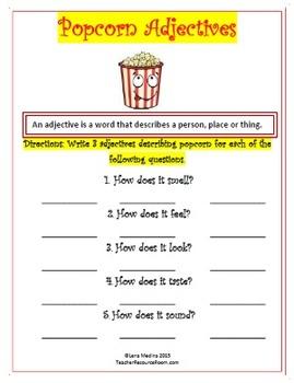 "Adjective Worksheets:""Popcorn"" Theme"