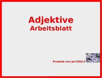 Adjektive (German adjectives) chart worksheet