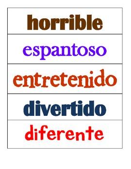 Spanish Adjectives (adjetivos)