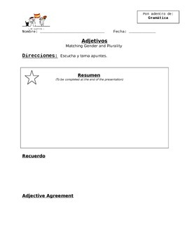Adjetivos (Adjectives) Blank Notes Sheet