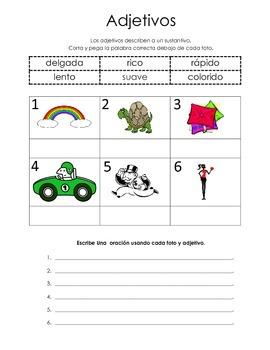 Adjetivos Cut and Paste Adjectives Spanish