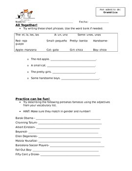 Adjetivos (Adjectives) Highlight Notes