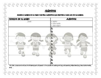 Adjetivos - Spanish Adjective Activity Worksheet