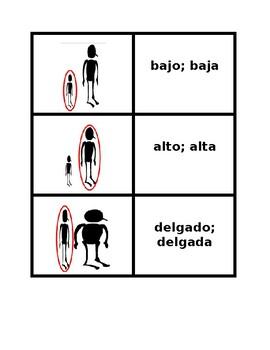 Adjetivos (Spanish Adjectives) Concentration games