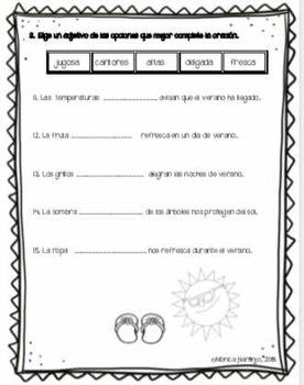 Adjetivos en Español.   Tema: Verano