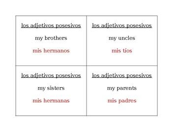 Adjetivos posesivos (Possessive adjectives) Question Question Pass activity