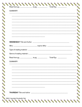 Adjustable Reading Log