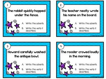 Adverbs Task Cards - Grammar Practice