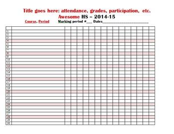 Admin pack - attendance, seating chart, absent work, weekly calendar