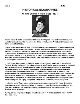 Admiral Charles Howard Biography Article and (3) Assignments