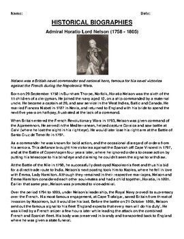 Admiral Horatio Lord Nelson Biography Article and (3) Assignments