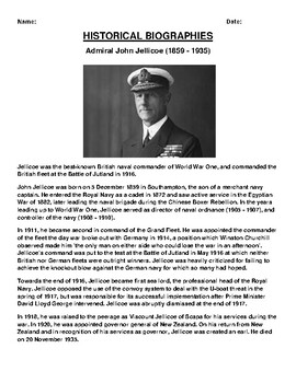 Admiral John Jellicoe Biography Article and (3) Assignments