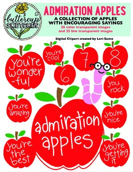 Admiration Apples Clip Art Collection: Apples with compliments