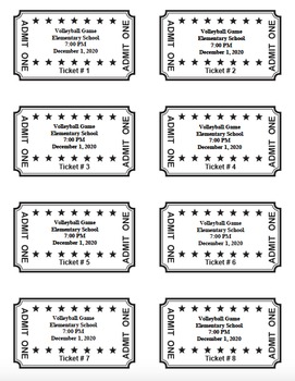 Admission Tickets - Make your own - Numbered