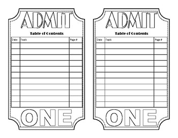 Admit One Interactive Theatre Notebook Table of Contents