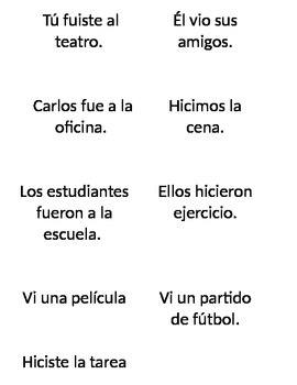 ¿Adónde fueron? Matching Activity with IR/VER/HACER in the Preterit