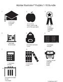 Adobe Illustrator Basic Shapes Puzzle Bundle 1-10