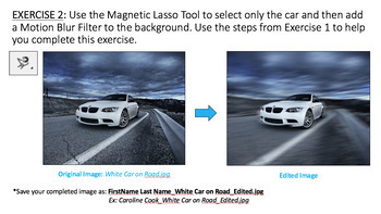Adobe Photoshop: Magnetic Lasso Tool & Motion Blur Filter