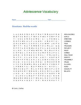 Adolescence Vocabulary word search