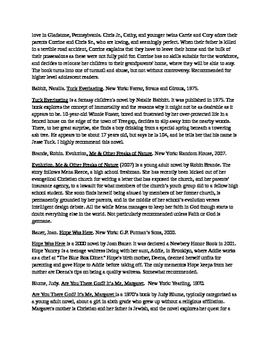 Adolescent Literature - Annotated Bibliography