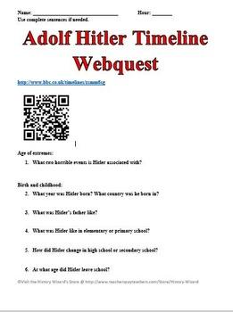 Adolf Hitler Timeline Webquest by History Wizard | Teachers Pay ...