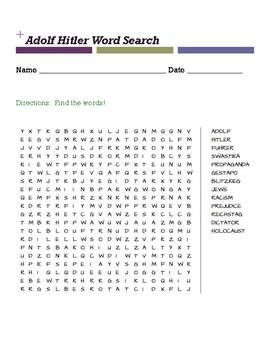 Adolf Hitler Word Search